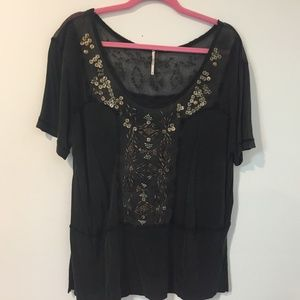 Free People Medium Sequin beaded Sheer vintage top